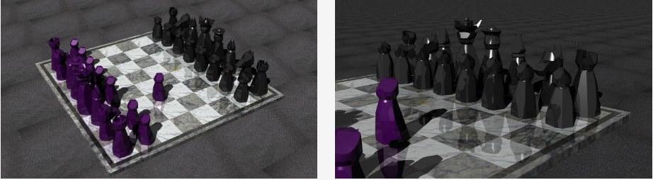 in một bộ cờ vua 3D